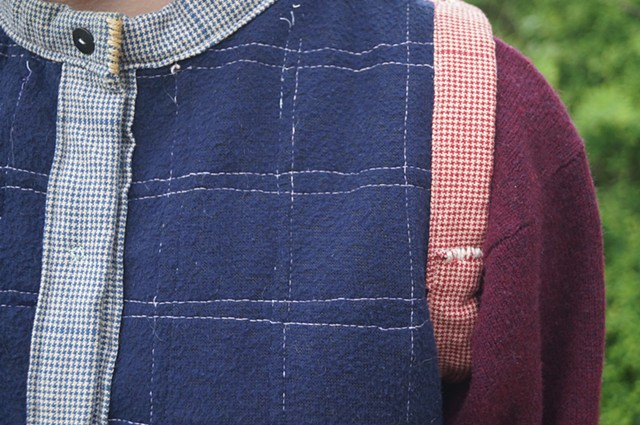 Reversible Red and Blue Woven Vest (side two, detail)