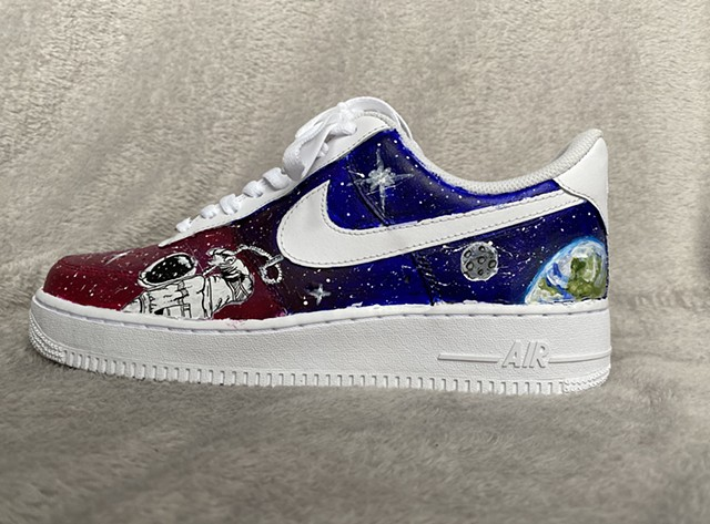 Air Force 1 Sneaker painted with acrylic. Left shoe.