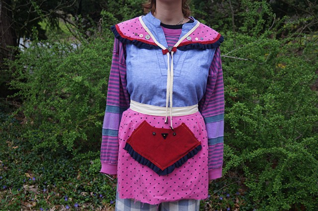 Hot Pink Half-Apron and Collar set