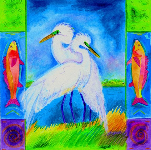 Greeting Card, two egrets, fish