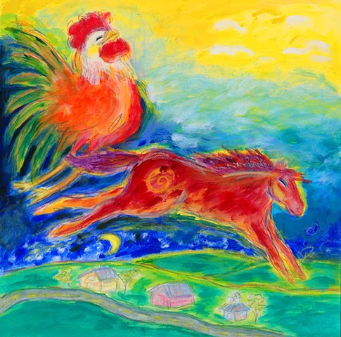 Greeting Card, Rooster and horse
