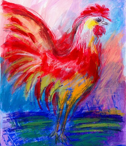 Greeting Card, Red Rooster