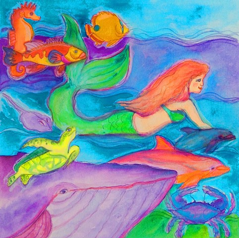 Greeting Card, Mermaid, Tropical, ocean, turtles