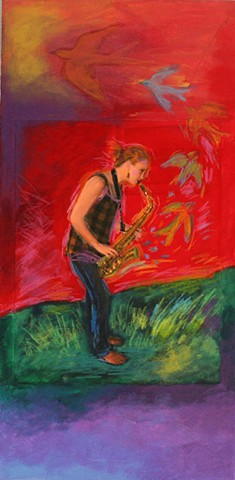 Greeting Card, Girl with Sax