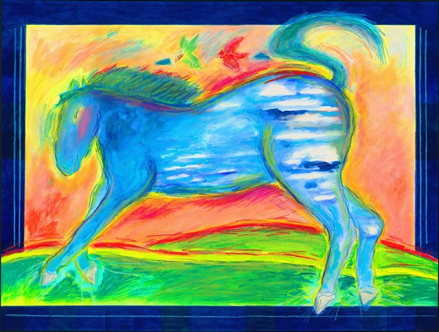 Greeting Card, Blue Horse with clouds