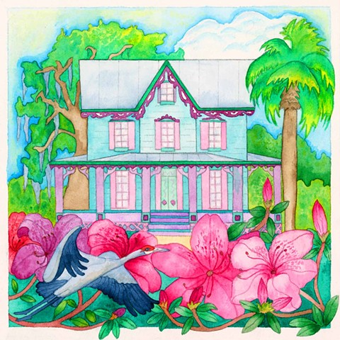 Greeting card, sandhill crane, house, Florida, Tropical