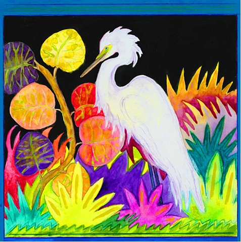 Greeting card, Snowy Egret, Florida