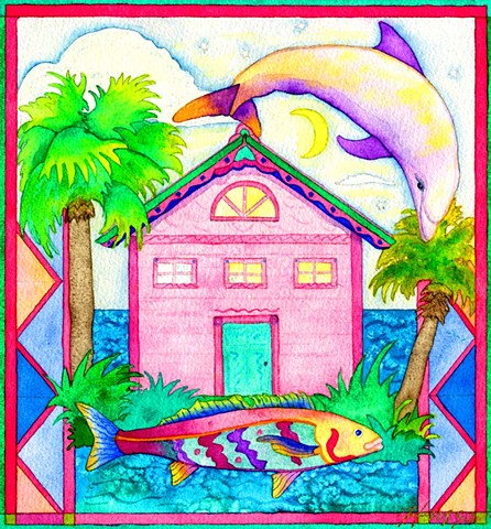 Greeting card, dolphin, tropical, Florida