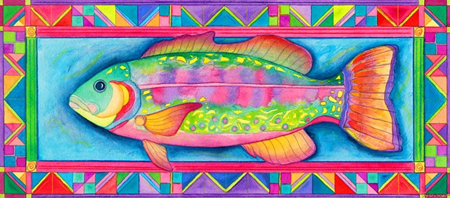 Greeting Card, Fish, Tropical, color border
