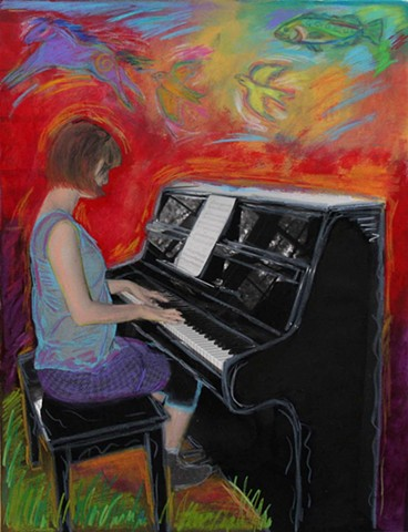 Greeting Card, Girl at Piano