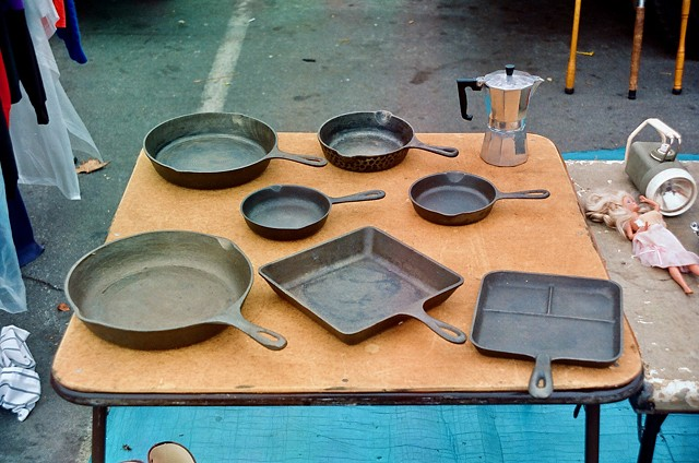 Cast Iron Skillets on Table