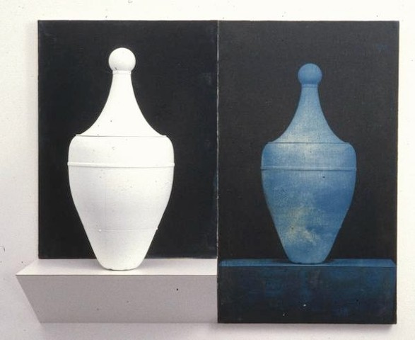 White amphora shaped assemblage with blue toned photograph on canvas