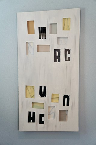 Wood wall sculpture, window board, lettering, drawing
