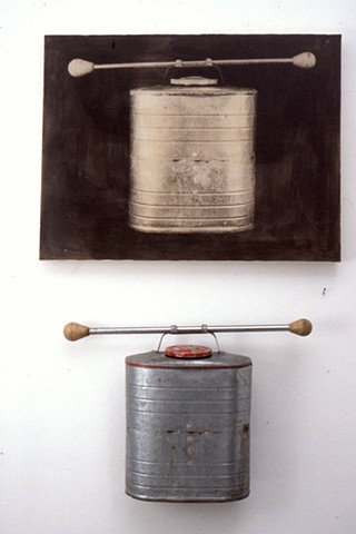 Baton and metal canister assemblage with photograph printed on canvas, diptych