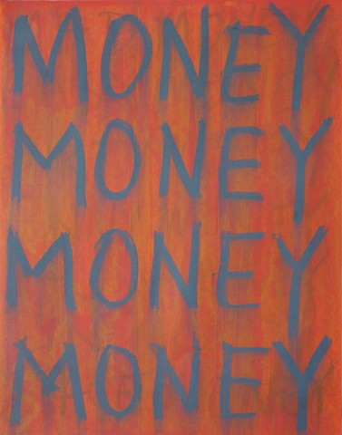 Painting on paper with the word Money on it, red.