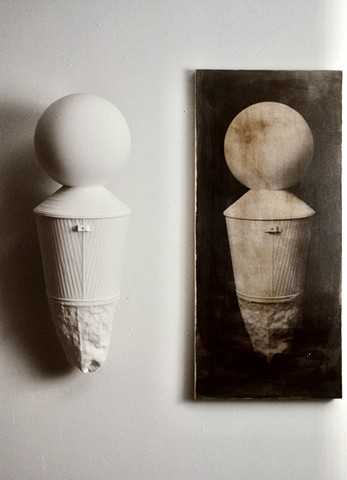 Sculpture and photograph on linen