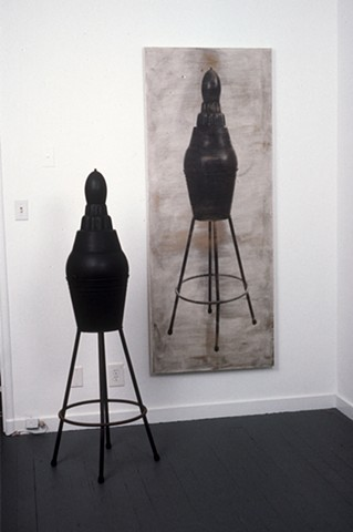 Stool Metal sculpture with photograph printed on canvas, diptych