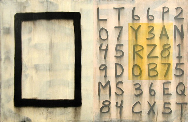 Painting on paper of large square with numbers and letters