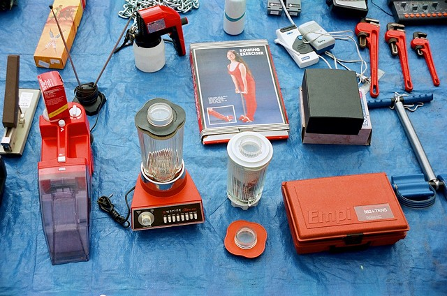 flea market, blender, tools, blue tarp