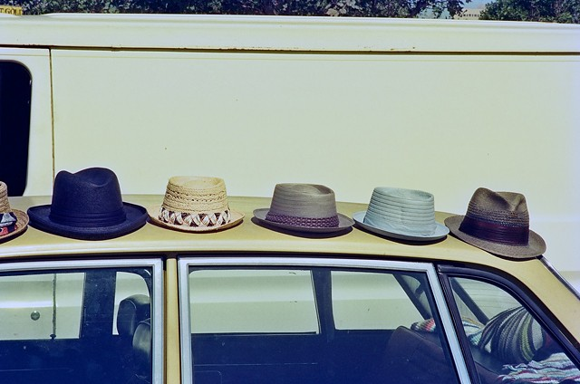 Hats, car, van, flea market