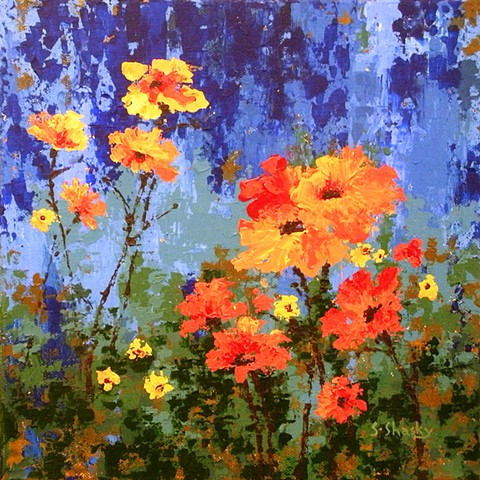 Orange Daisies on Cool Blue -Sold-