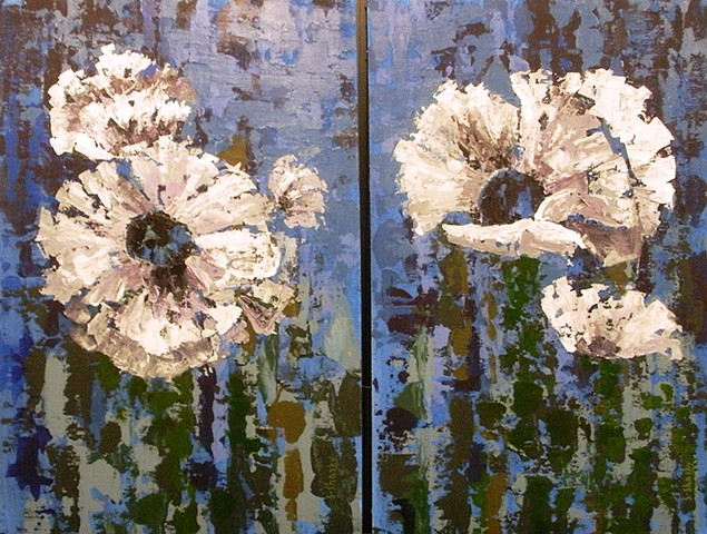 Poppies in Blue Diptych -Sold-
