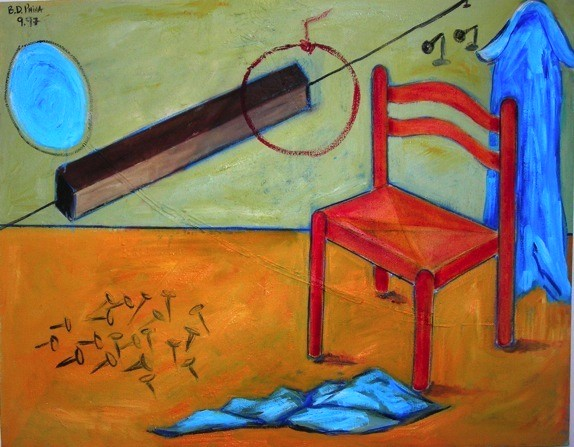 oil paintings, original paintings, oil on canvas painting, Israeli painter, israeli artist, colorful painting, red chair painting