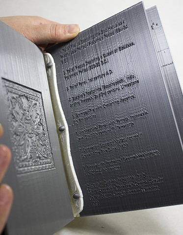 Folium 3D Printed Book of Bas Relief from The Art Institute of Chicago, 2014, 3D Printed PLA, 9 x 6 x 6 inches