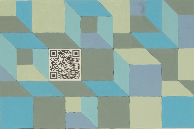 Composition 3, gouache on paper with QR code, 4 x 6 inches, 2010