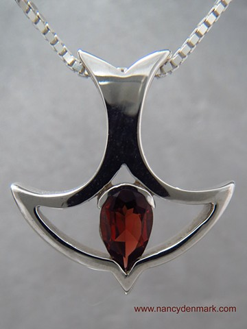 sterling silver descending dove pendant with garnet © Nancy Denmark