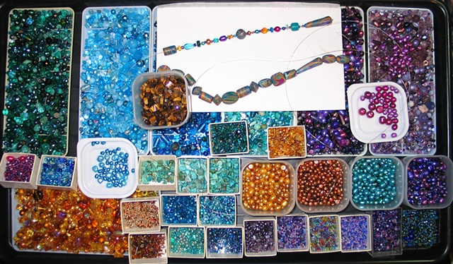 TYPICAL LAP TRAY ARRANGED FOR BEADING PROJECT