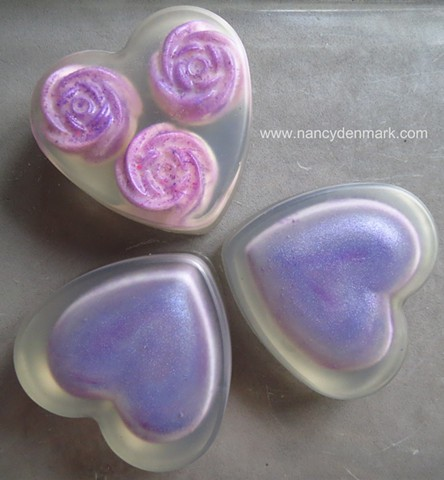 LAVENDER HEARTS WITH EMBEDS
