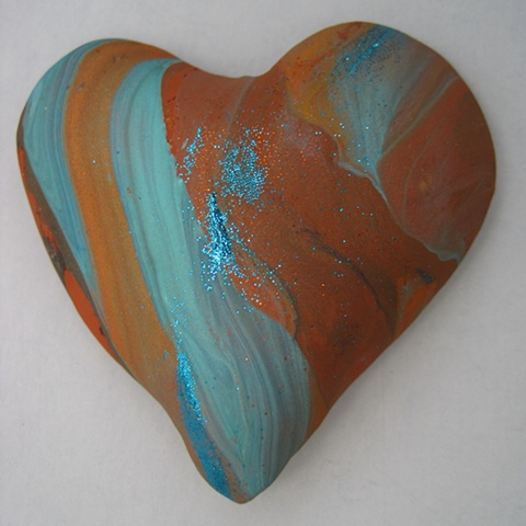 polymer clay hand held heart by Nancy Denmark