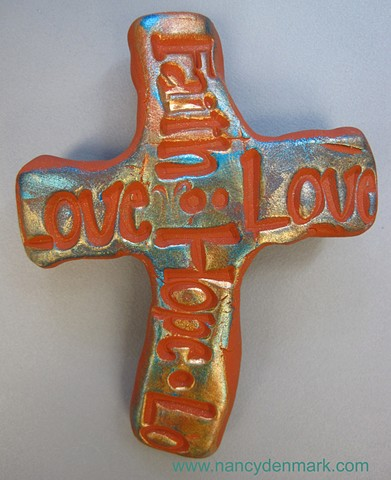 faith hope love hand cross by Nancy Denmark