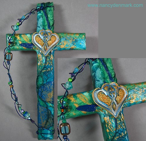 One In The Spirit collage and symbol wall cross made by Nancy Denmark & Patti Reed