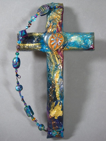 shining heart symbol on collage cross handmade by Nancy Denmark & Patti Reed