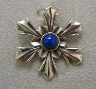 sterling silver snowflake pendant with lapis © Nancy Denmark