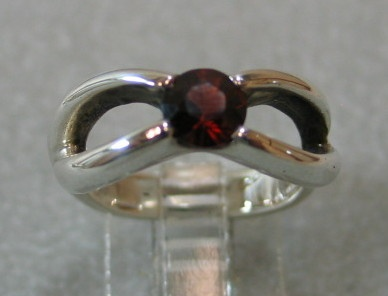 Garnet gemstone sterling silver ring designed by Nancy Denmark