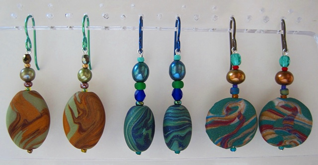 beaded earrings with handmade polymer clay feature beads Nancy Denmark