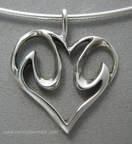 sterling silver descending dove in heart pendant © Nancy Denmark