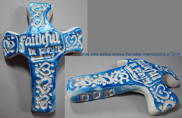 Hand Held Cross made of polymer clay by Nancy Denmark