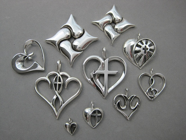 sterling silver heart jewelry with religious theme ©Nancy Denmark