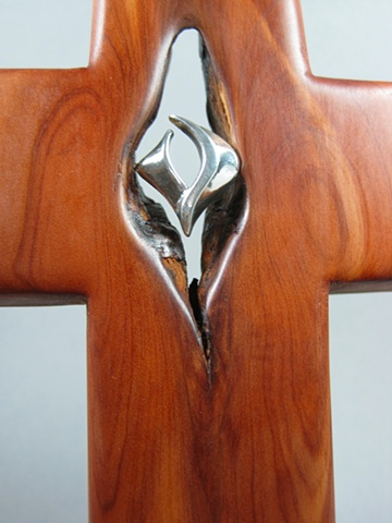 STERLING FILLED WITH THE SPIRIT ON CEDAR CROSS  CLOSE UP VIEW