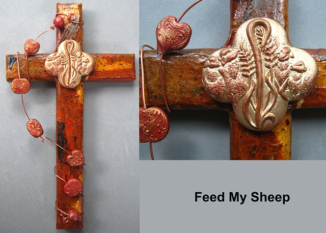 Feed My Shhep quatrefoil symbol on wood collage cross Nancy Denmark Patti Reed