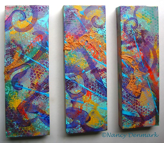 """Lyrical Chaos"" tryptic canvas set ©Nancy Denmark"