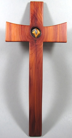FILLED WITH THE SPIRIT POLYMER CLAY SYMBOL IN CEDAR CROSS FULL VIEW
