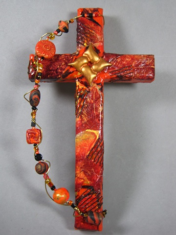 collage wall cross with hearts entwined symbol by Nancy Denmark Patti Reed
