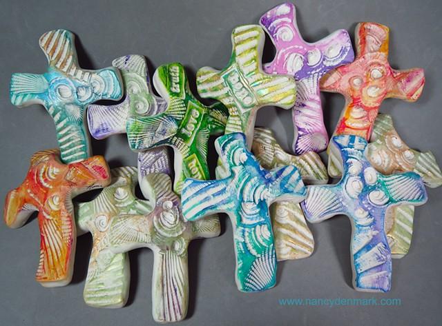 seashell impressed hand crosses by Nancy Denmark