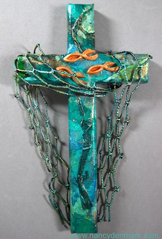 Cast Your Nets, Fishers of Men Collage Cross by Nancy Denmark