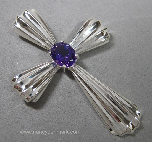 sterling silver fluted cross with amethyst © Nancy Denmark